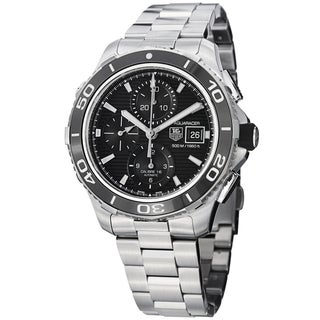 Tag Heuer Men's 'Aquaracer500' Black Dial Stainless Steel Watch CAK2110.BA0833