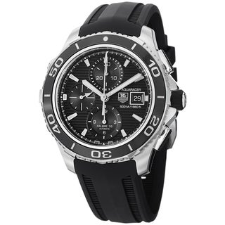 Tag Heuer Men's 'Aquaracer500' Black Dial Black Rubber Strap Watch CAK2110.FT8019