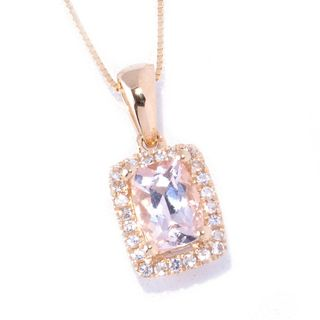 14k Yellow Gold Cushion-cut Morganite and White Topaz Pendant with Chain