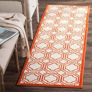 Safavieh Amherst Indoor/ Outdoor Ivory/ Orange Rug (2'3 x 7')