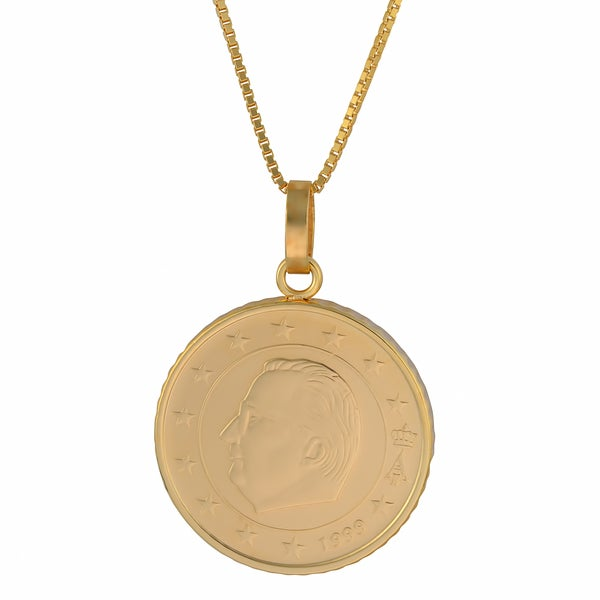 Fremada 18k Yellow Gold Over Sterling Silver 50 Cent Euro Coin Pendant Necklace (18 inch)