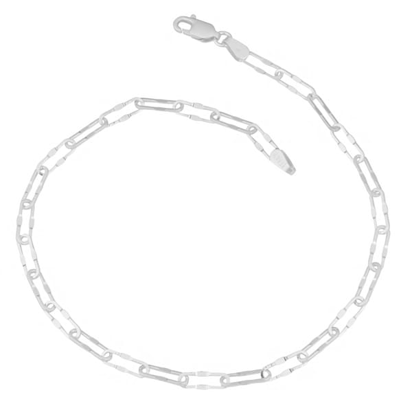 Fremada Sterling Silver Fancy Long Cable Anklet (10 inch)