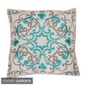 Sydney Embroidered 20x20-inch Feather Filled Throw Pillow