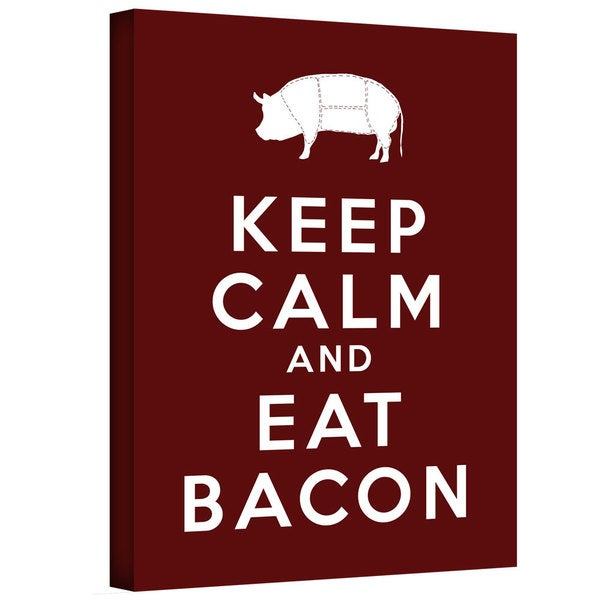 ArtWall Art D. Signer 'Keep Calm and Eat Bacon' Gallery-wrapped Canvas Art