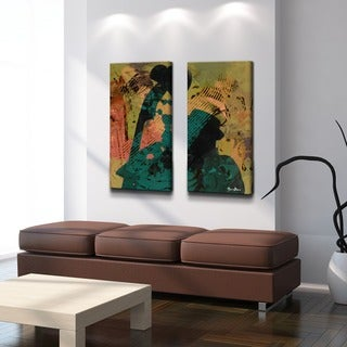 Alexis Bueno 'The Color of Jazz XXI' Oversized 2-piece Canvas Wall Art