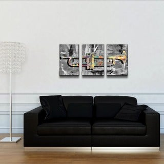 Alexis Bueno 'The Color of Jazz XV' Oversized 3-Piece Canvas Wall Art