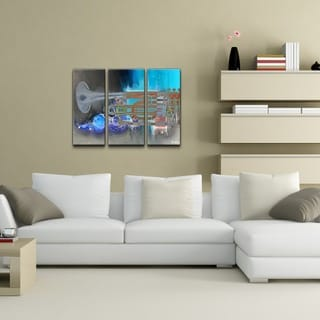 Alexis Bueno 'The Color of Jazz XII' Oversized 3-piece Canvas Wall Art