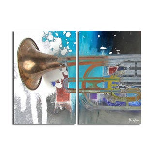 Alexis Bueno 'The Color of Jazz XI' Oversized 2-piece Canvas Wall Art