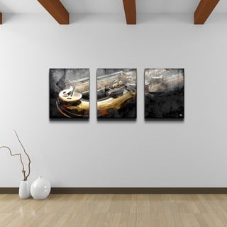 Alexis Bueno 'The Color of Jazz IX' Oversized 3-piece Canvas Wall Art
