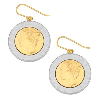 Fremada 18k Yellow Gold Over Sterling Silver Italian 500 Lira Coin Dangle Earrings
