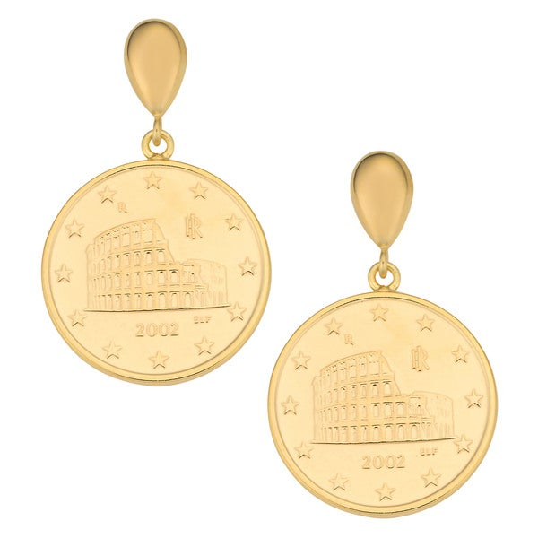 Fremada 18k Yellow Gold Over Sterling Silver 5 Cent Euro Coin Drop Earrings