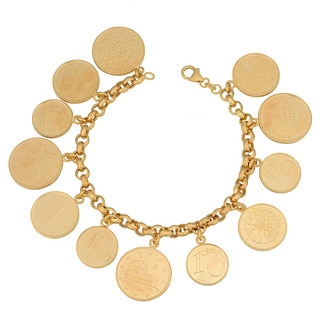 Fremada 18k Yellow Gold Over Sterling Silver Euro Coins Charm Bracelet (8 inch)