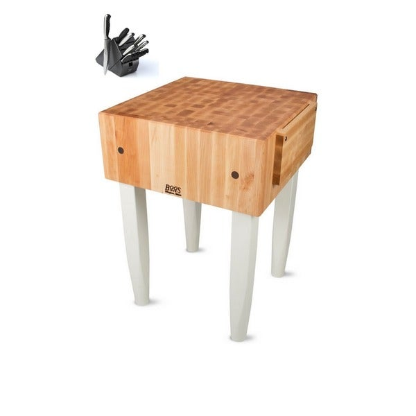 John Boos PCA3 End-grain Butcher Block 24x24x34 Table with Henckels 13 Piece Knife Block Set