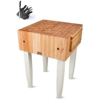 John Boos PCA2 Butcher Block 18 x 24 x 34 Table and Henckels 13-piece Knife Block Set