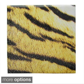 Tiger Print Textured Ceramic Wall Tile (Pack of 20)