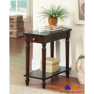 Furniture of America Walnut Marcelli Transitional Side Table with Storage Drawer