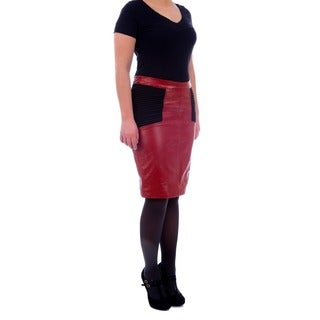 R & O Women's Leather Skirt with Knit Inserts