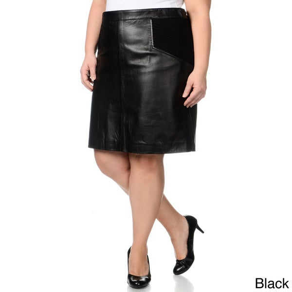 Excelled Women's Plus Leather Skirt with Knit Inserts 12553249
