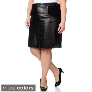 R & O Women's Plus Size Leather Skirt with Knit Inserts