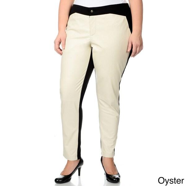 R & O Women's Plus Size Ponte Backing Leather Pants