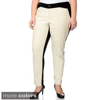 R & O Women's Plus Size Ponte Backing Leather Pants