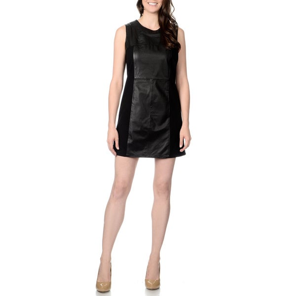 Excelled Women's Leather Panel Knit-back Sleeveless Dress 12553275