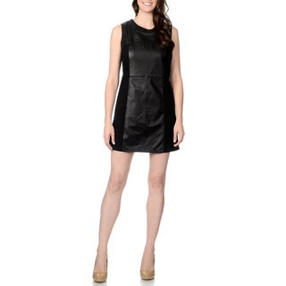 R & O Women's Leather Panel Knit-back Sleeveless Dress