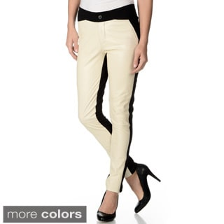 R & O Women's Ponte Backing Leather Pants