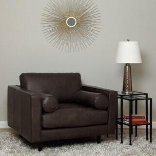 Scott Oversized Dark Brown Leather Club Chair