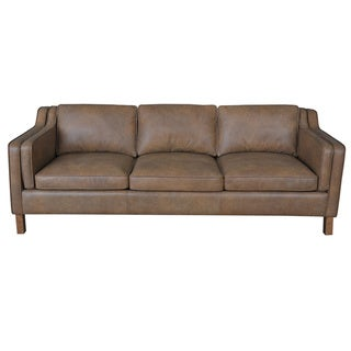 Canape 86 inch oxford honey leather sofa overstock for Canape insurance