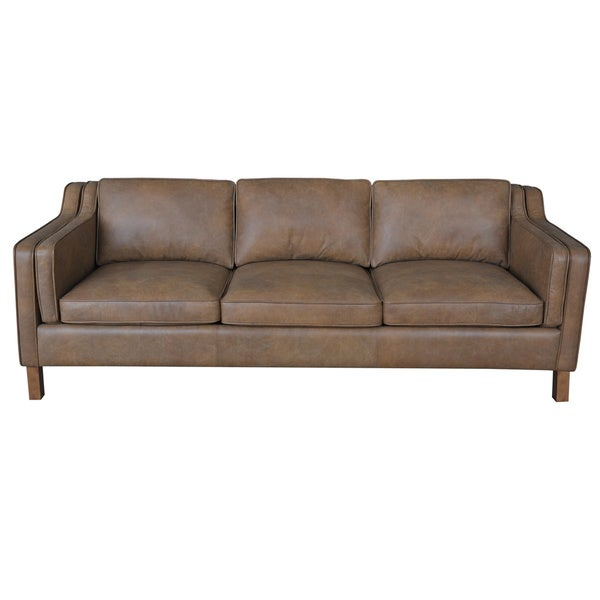 Canape 86 Inch Oxford Honey Leather Sofa
