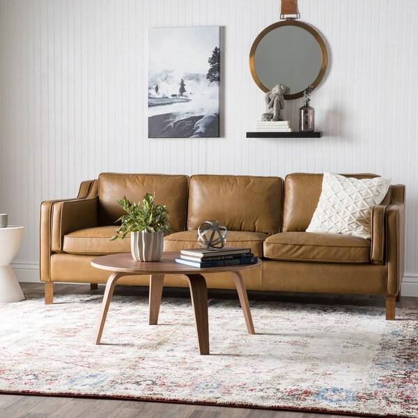 Canape 86 inch oxford honey leather sofa 16070447 for Canape leather sofa