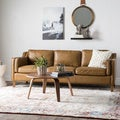 Canape 86-inch Oxford Honey Leather Sofa