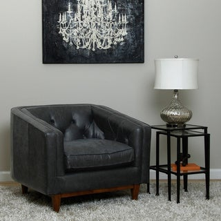 Natty Oversized Italian Black Leather Button-tufted Club Chair
