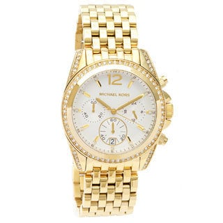 Michael Kors Women's 'MK5835 Pressley Chronograph' White Dial Goldtone Watch