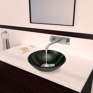 VIGO Emerald Glass Vessel Sink and Titus Wall Mount Faucet Set in Brushed Nickel