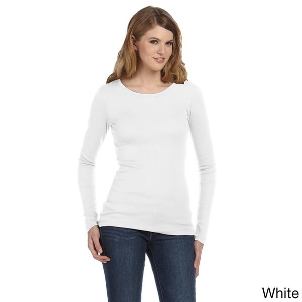 Bella Women's Sheer Ribbed Long Sleeve Crew T-shirt
