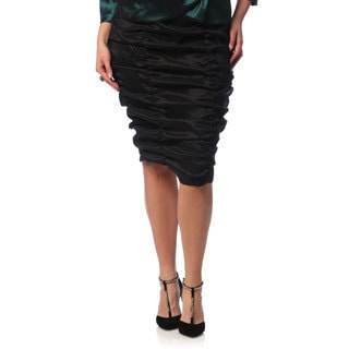 Alex Evenings Women's Plus Size Black Knee-length Ruched Skirt
