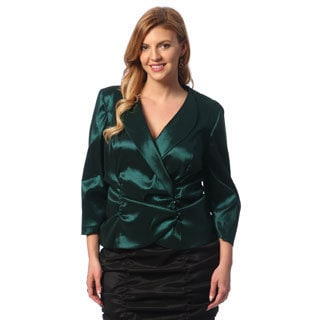 Alex Evenings Women's Plus Size Forest Ruched-waist Taffeta Blouse