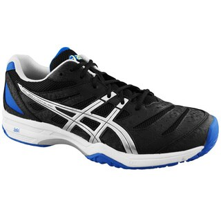 Asics Men's 'Gel Solution Slam' Black and Royal Blue Tennis Shoes