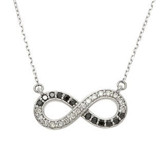 14k White Gold 1/3ct TDW Black and White Diamond Infinity Necklace (G-H, SI1-SI2)