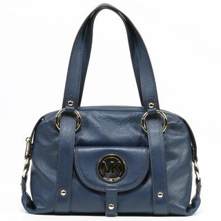 MICHAEL Michael Kors 'Fulton' Large Navy Leather Satchel