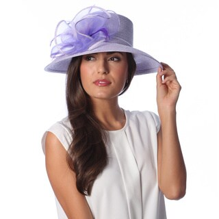Swan Hat Women's Metallic Lavender Crinalin Bow Dressy Hat