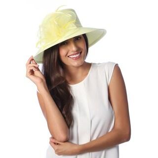 Swan Hat Women's Yellow Crinalin Bow Dressy Hat