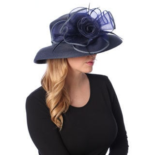 Swan Hat Women's Navy Crinalin Bow Brim Hat