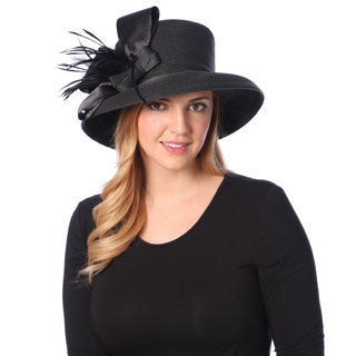 Swan Hat Women's Satin Brim Crinalin Bow Dressy Hat