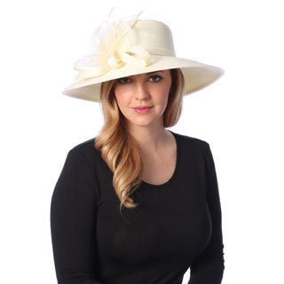 Swan Hat Women's Ivory Crinalin Bow Dressy Hat