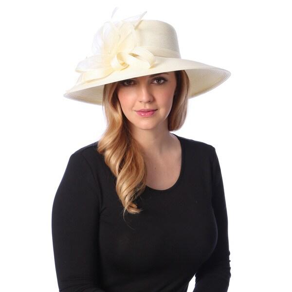 Swan Hat Women's Ivory Crinalin Bow Dressy Hat