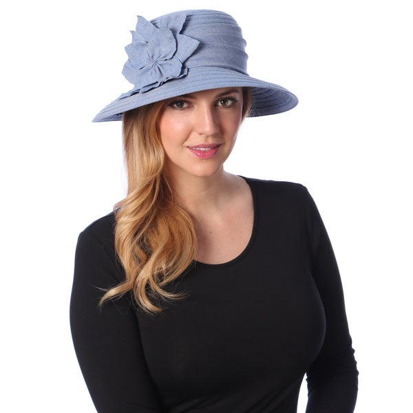Swan Hat Women's Blue Denim Flower Packable Bucket Hat