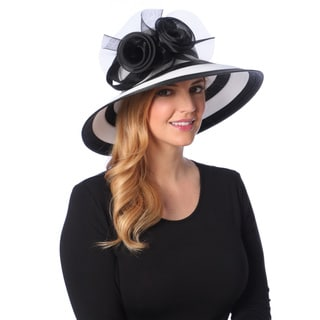 Swan Hat Women's White/ Black Downturned Crinalin Floral Hat